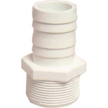"1.5"" White ABS Threaded Hosetail"