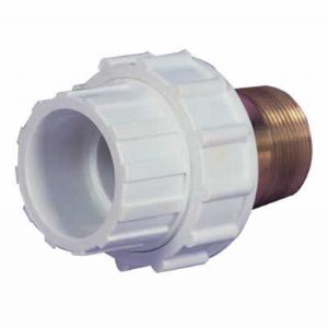 "2"" White ABS Composite Union Male Threaded/Female Plain (MT/FP)"